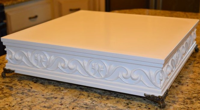 "DIY Wood Cornice Cake Stand | ""I Do"" DIYs.com"