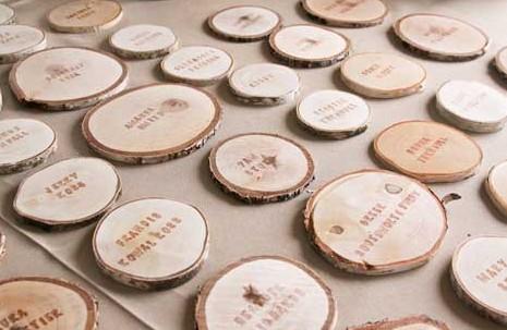"DIY Wood Slice Name Cards | ""I Do"" DIYs"